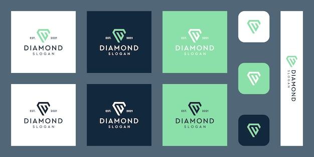 文字uモノグラムロゴと抽象的なダイヤモンドの形プレミアムベクトル