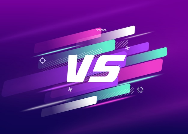 Letters vs match, game concept competitive vs. with simple graphic elements.vector illustration