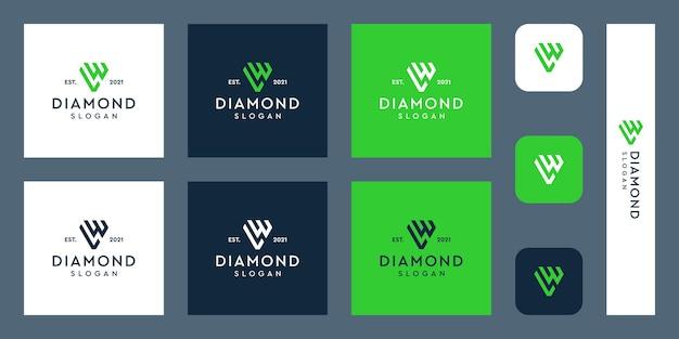 文字wとlのモノグラムロゴと抽象的なダイヤモンドの形プレミアムベクトル