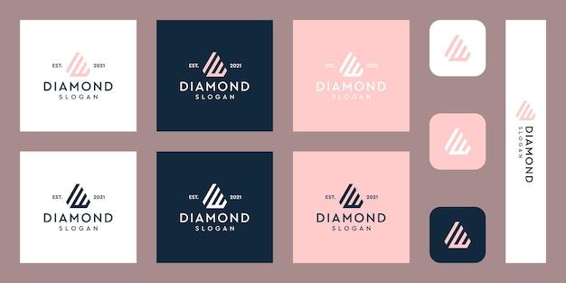 文字wモノグラムロゴと抽象的なダイヤモンドの形プレミアムベクトル