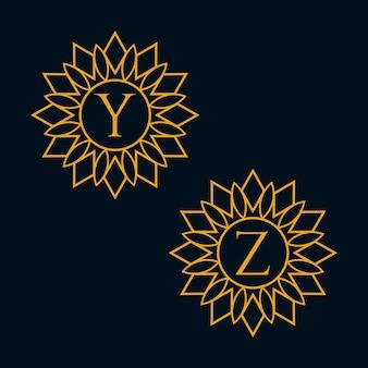 文字yとzのデザインベクトル