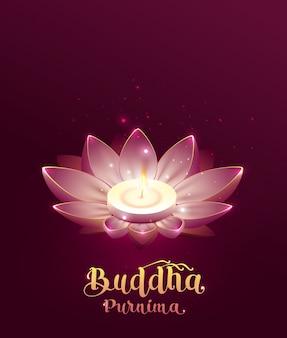 Будда пурнима весак день lettring текст поздравительной открытки. цветок лотоса и горящая свеча