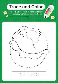 子供のためのレタスのトレースと色の就学前のワークシートは、書き込みと描画を練習します