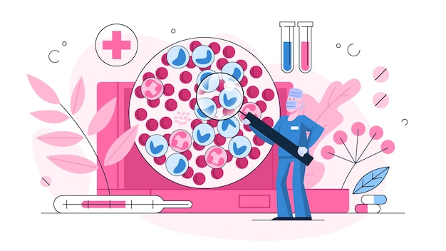 Leukemia examination concept. dangerous disease expertize. blood cancer diagnostic, red and white blood cell.   illustration in  style