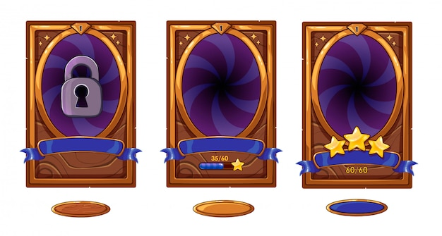 Level background card for mobile game ui design. victory ribbon witch stars. buttons set. isolated on white background. bronze, purple and blue colors.