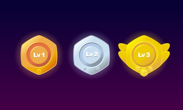 Level badges bronze, silver, gold set premium