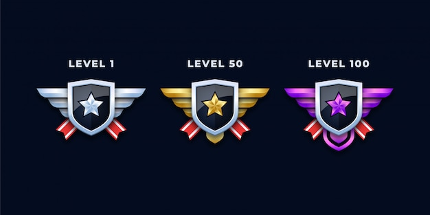 Level badges or insignias set