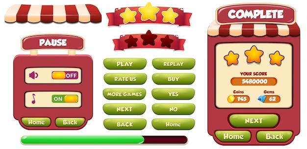 レベル完了および一時停止メニューのポップアップ画面、星、ロード、ボタン