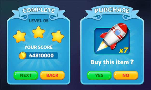 Level complete and buy purchase menu pop up with stars score and buttons gui