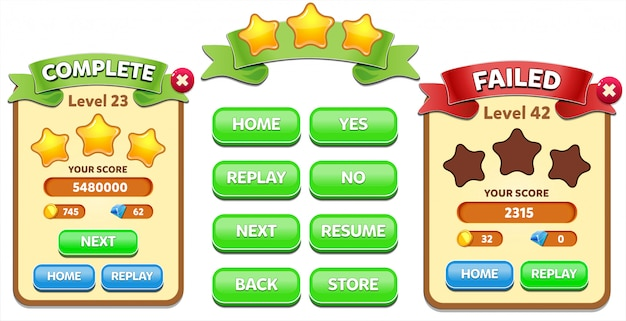 Level complete and level failed menu pop up with stars score and buttons gui