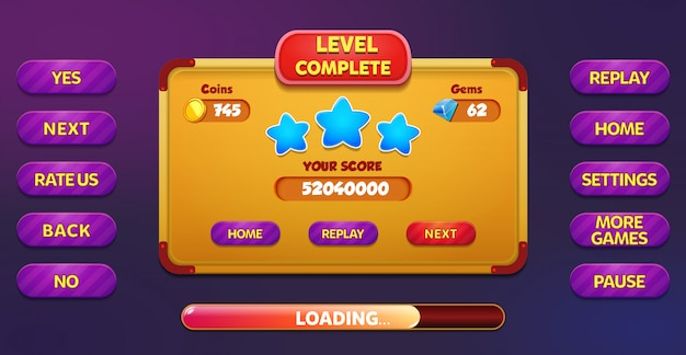 Level complete menu pop up screen with stars, buttons, coins and gems