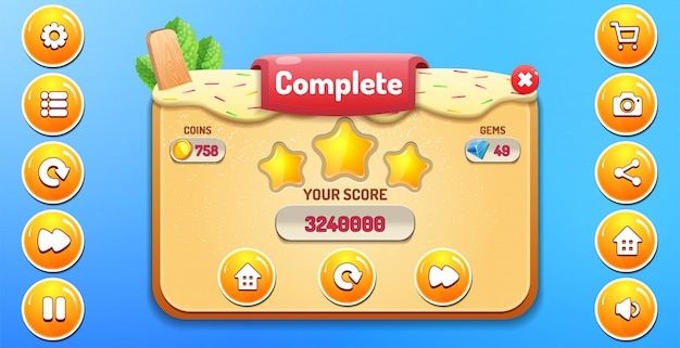Level complete menu pop up with stars score and buttons gui