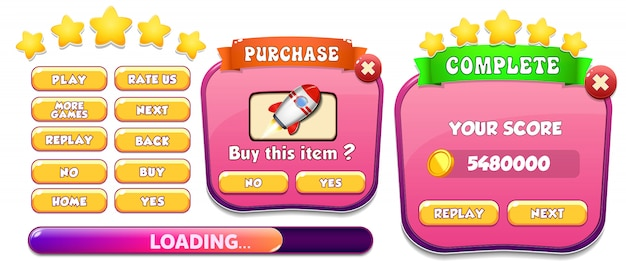 Level complete and purchase menu pop up screen with stars and button