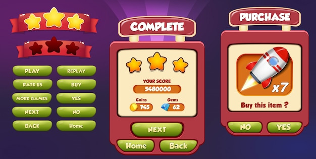 Level complete and purchase menu pop up screen with stars, loading bar and button