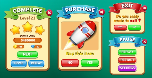 Level complete, purchase, pause and exit menu pop up with stars score and buttons gui