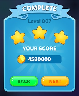 Level complete scene with stars score