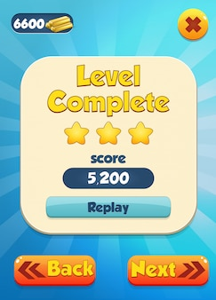 Level complete scene with stars and score