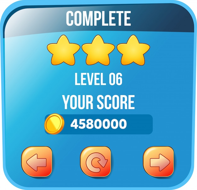 Level complete score box with coins and stars