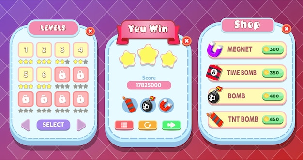 Level complete, shop and levels selection menu pop up with buttons