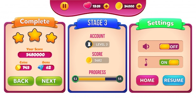 Level complete, stage and settings menu pop up with stars score and buttons gui