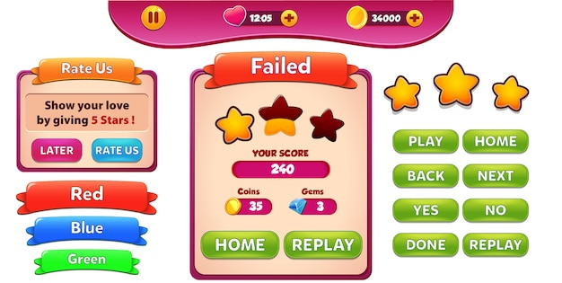 Level faied and rate us menu pop up with stars score and buttons gui