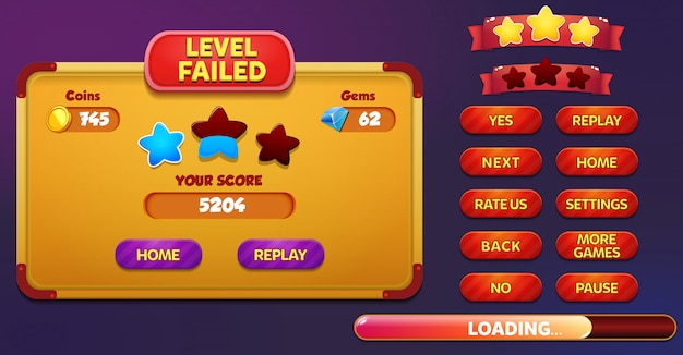 Level failed menu pop up screen with stars, buttons, coins and gems