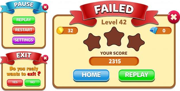 レベル失敗、一時停止および終了メニューに星のスコアとボタンguiがポップアップ表示される
