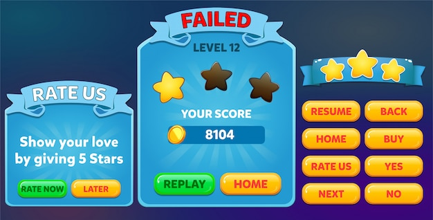 Level failed and rate us menu pop up with stars score and buttons gui
