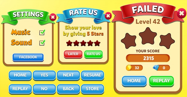 Level failed, rate us and settings menu pop up with stars score and buttons gui