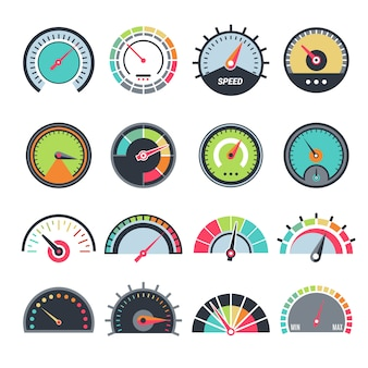 Level measure symbols. speedometer guage indication fuel vector infographic symbols collection