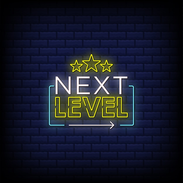 Next level neon signs style text with stars design i