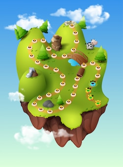 Level selection game menu scene forest hill, jungle mountains clouds trees