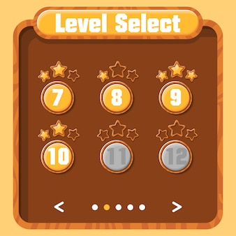 Level selection, player progress. vector graphical user interface for video games. bright menu with buttons and golden stars. wood texture.
