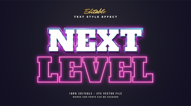 Next level text with colorful glowing neon effect in retro and futuristic style