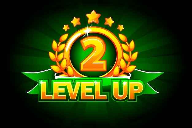 Level up banner with green ribbon