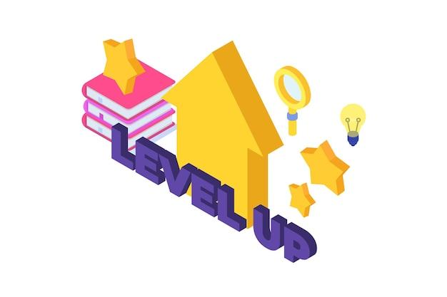 レベルアップ、ビジネス成功スキル開発の概念。