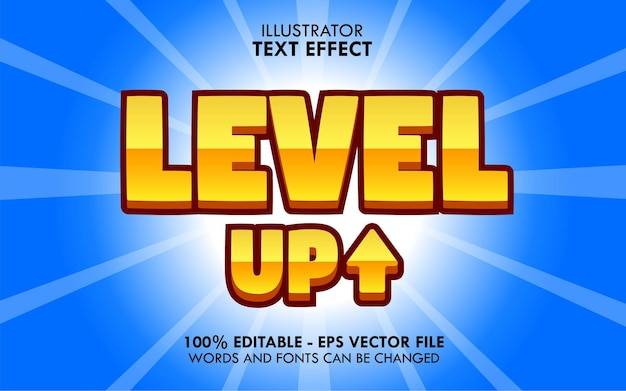 レベルアップ、漫画ゲームのuiスタイルの編集可能なテキスト効果