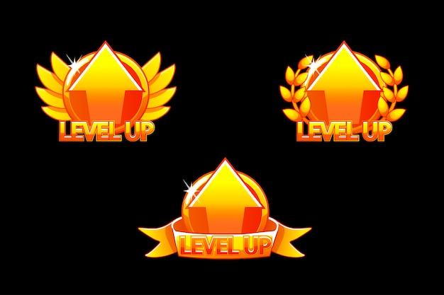 레벨 업 아이콘, 게임 골든 아이콘. 2d 게임을 구축하기위한 그래픽 사용자 인터페이스 gui. 캐주얼 게임. 모바일 또는 웹 게임에서 사용할 수 있습니다.