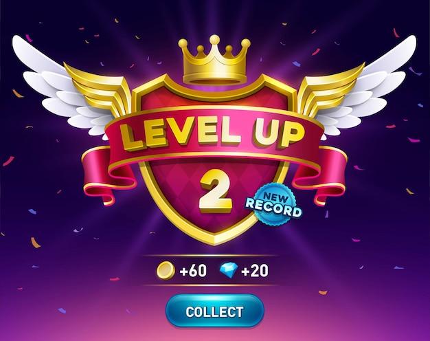 Значок повышения уровня игры на экране игры, приложение для достижения результатов, изолированный элемент дизайна пользовательского интерфейса