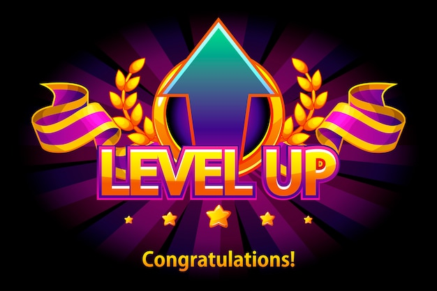 Level up icon, game screen. illustration with arrow and puple award ribbon. graphical user interface gui to build 2d games. casual game. can be used in mobile or web game.
