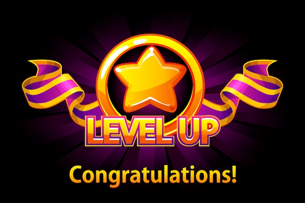 Level up icon, game screen. illustration with golden star and puple award ribbon. graphical user interface gui to build 2d games. casual game. can be used in mobile or web game.