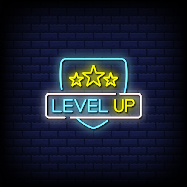 Level up neon signs style text with stars design