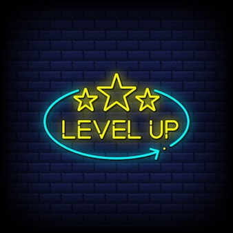 Level up neon signs style text with stars