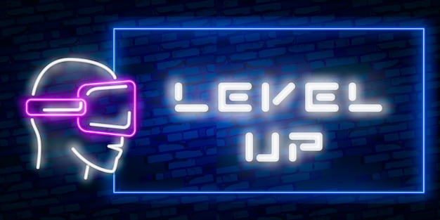 Level up neon text