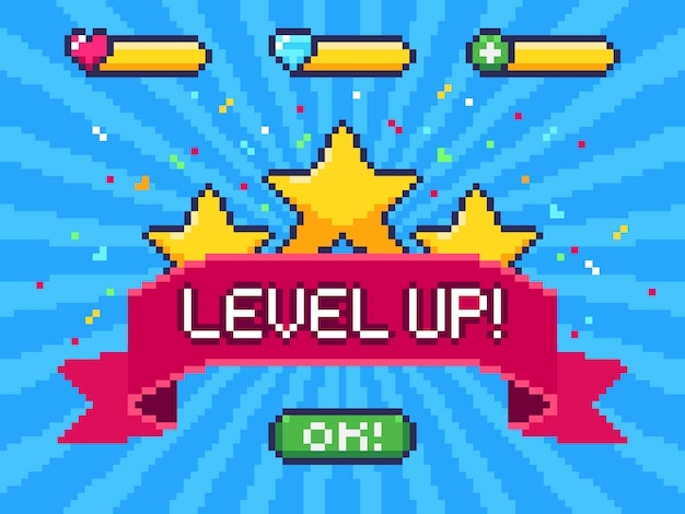 Level up screen. pixel video game achievement, pixels 8 bit games ui and gaming level progress illustration