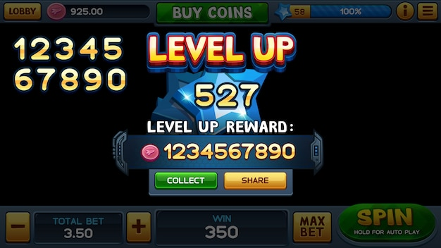 Level up screen for slot game
