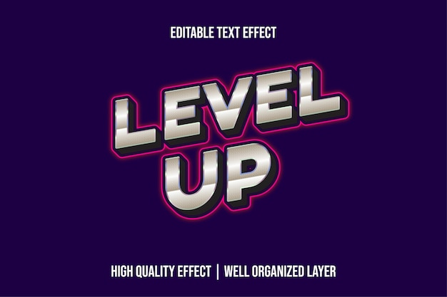 Level up silver with pink lines text effect style
