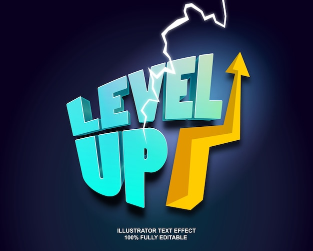 Level up text effect