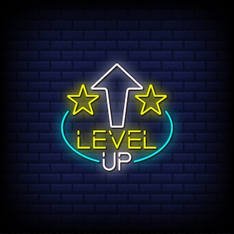 Lever up neon signs style text design with stars and arrow up