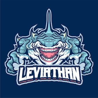 Шаблон логотипа талисмана левиафана